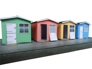100% De Qualité Set Of 4 Beach Huts With Decking Card Kit Oo Gauge Model Railway Hornby 1:76