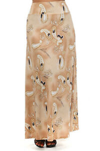 WOMENS-PLUS-SIZE-CLOTHING-TAN-AND-CREAM-GEOMETRIC-PATTERNED-MAXI-SKIRT