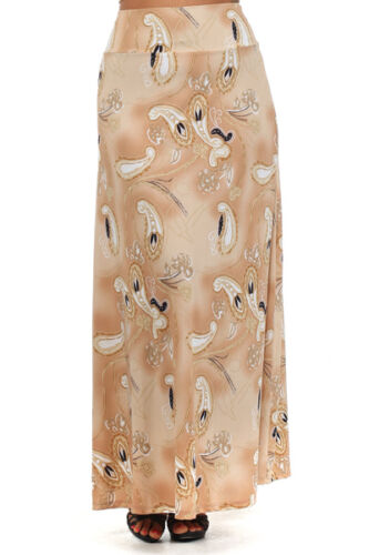 WOMENS PLUS SIZE CLOTHING TAN AND CREAM GEOMETRIC PATTERNED MAXI SKIRT