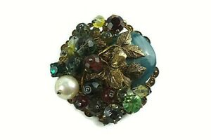 Vintage-Jewelry-Brooch-Pin-Grape-Olive-Vine-Cluster-Rhinestone-Glass-Beads