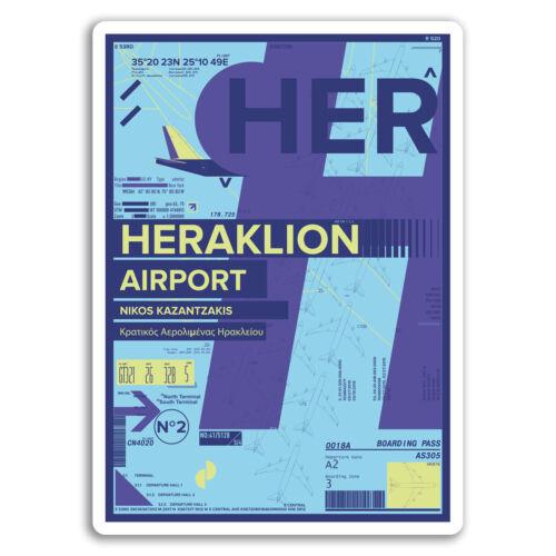 Crete Greece Travel Sticker #17402 2 x 10cm Heraklion Airport Vinyl Stickers
