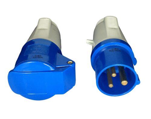 Extension Cable 2.5mm 16A Blue Plug /& Socket 15 Metre Blue Caravan Hook Up