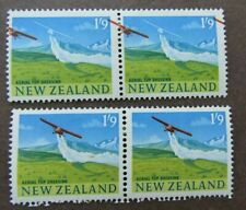 NEW ZEALAND - 1960 1/9 DEFIN - STUNNING AIRPLANE SHIFT TO MARGIN - MINT PAIR
