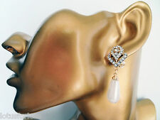 Art Deco Vintage Crystal Gold Teardrop Pearl Dangle Drop Earrings Bridal Prom