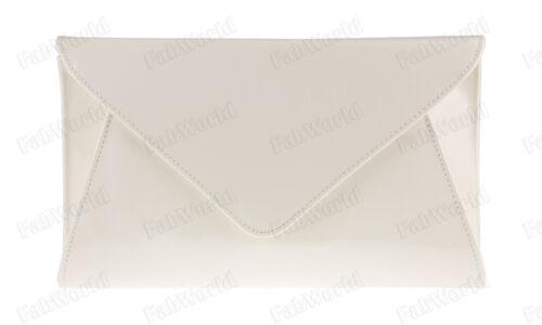 NAVY WHITE NUDE BLACK PINK IVORY BLUE Patent Leather Envelope Evening Bag #50