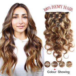 100-Body-Virgin-Brazilian-Clip-in-Hair-Extensions-Human-Hair-Full-Head-16-034-7pcs