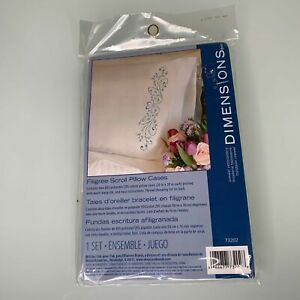 Dimensions-73202-Filigree-Scroll-Stamped-Embroidery-Pillowcase-Pair-Stitch