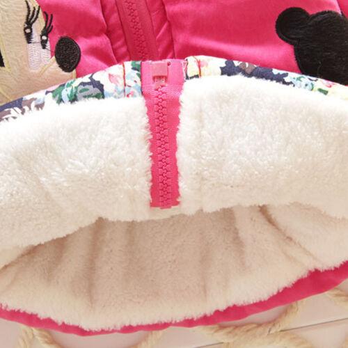 Kinder Mädchen Micky Maus Winter Kapuze Fleecejacke Mantel Jacke Schneejacke