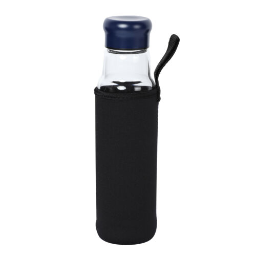 550 ml Blue Glass Stainless Steel Water Bottle with Karelian Shungite Stone
