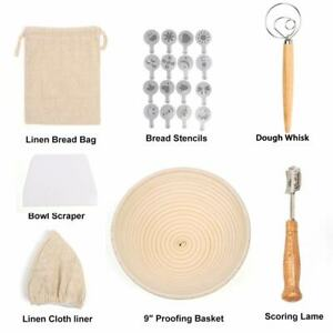 Details about 9in Round Bread Proofing Basket Kits Bread Baking Tool Set Whisk Liner Scraper