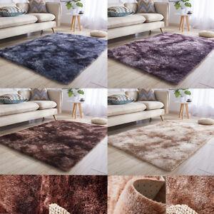 Details zu Moderner Wohnzimmer Shaggy Hochflor Teppich Soft Garn In Uni  Beige Lila Braun
