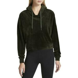DKNY Sport Womens Cropped Velour Hoodie