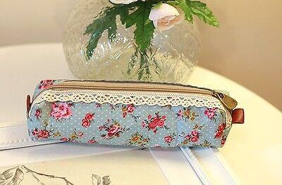 Vintage Retro Floral Pen Lace pencil  case zipped holder stationery school Pouch