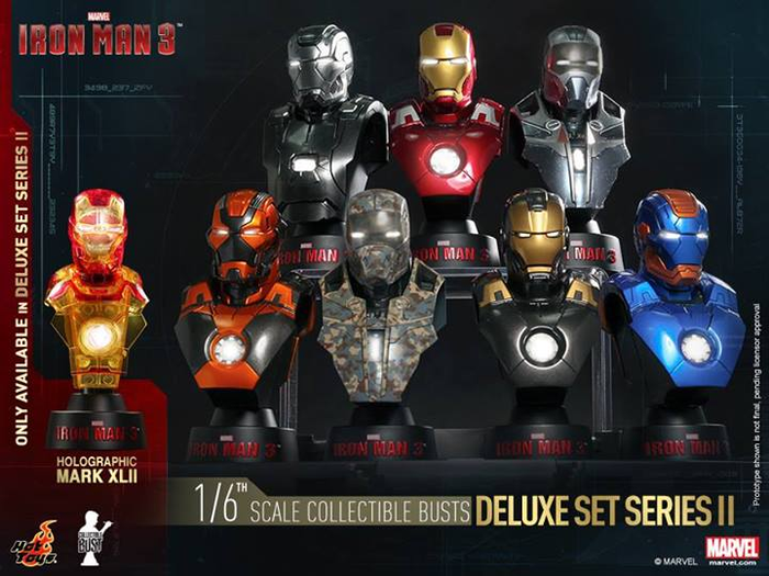 Hot Toys--Iron Man 3 - 1:6 Scale Bust Set of 8 Series 2