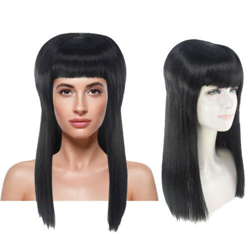 Deluxe Womens Black Vampire Vampiress Elvira Costume Hair Wig with Bangs HW-1379