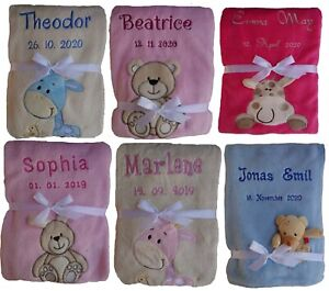 Babydecke Kinderwagendecke Krabbeldecke mit Namen bestickt personalisiert Geburt