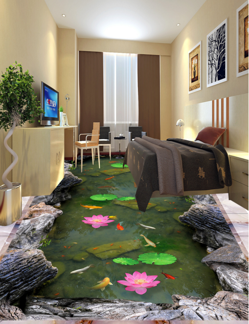 3D Fish Pond Flower 8 Floor WallPaper Murals Wall Print 5D AJ WALLPAPER UK Lemon