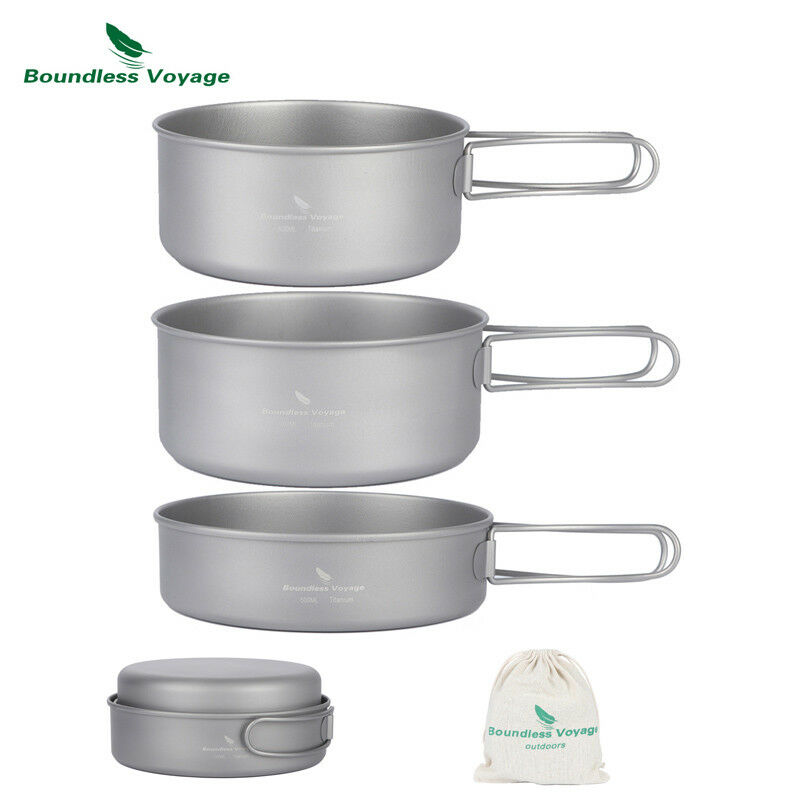 Boundless Voyage Ultralight Titanium Pot Pan Folding Handle Camping Cookware Set