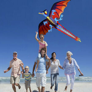 3D-Dragon-Kite-Single-Line-With-Tail-Family-Outdoor-Sports-Toy-Children-Kids