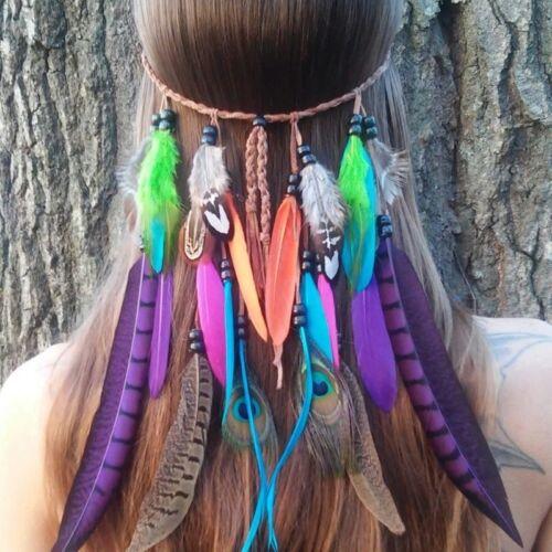 Indian Feather Headdress Hippy Headband Festival boho Hairband DL5