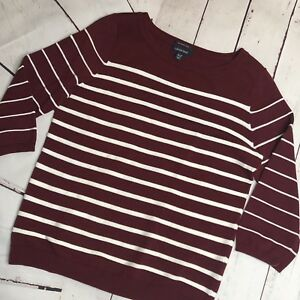 Lands-End-Women-039-s-Sweater-Pima-Cotton-V-neck-Burgundy-Stripe-Medium-Petite-10-12