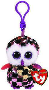 TY BEANIE BABIES FLIPPABLES CHECKS OWL CLIP ON PLUSH SOFT TOY KEYRING NEW