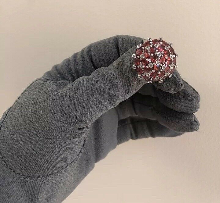 Gorgeous Garnet Round Cut Sterling Ring Sz 8.25 QVC HSN Signed YK 925