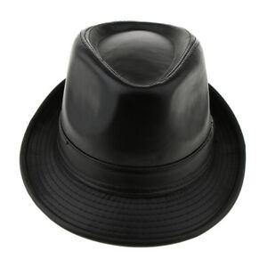 a3952622b59 Fashion Men Faux Leather Autumn Fedora Trilby Hat Church Panama Hat ...