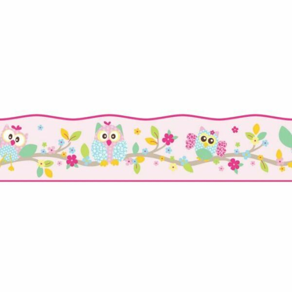 8955-23 BRIGHT OWLS SELF-ADHESIVE WALLPAPER BORDERS CREATION ROOM DECOR A.S