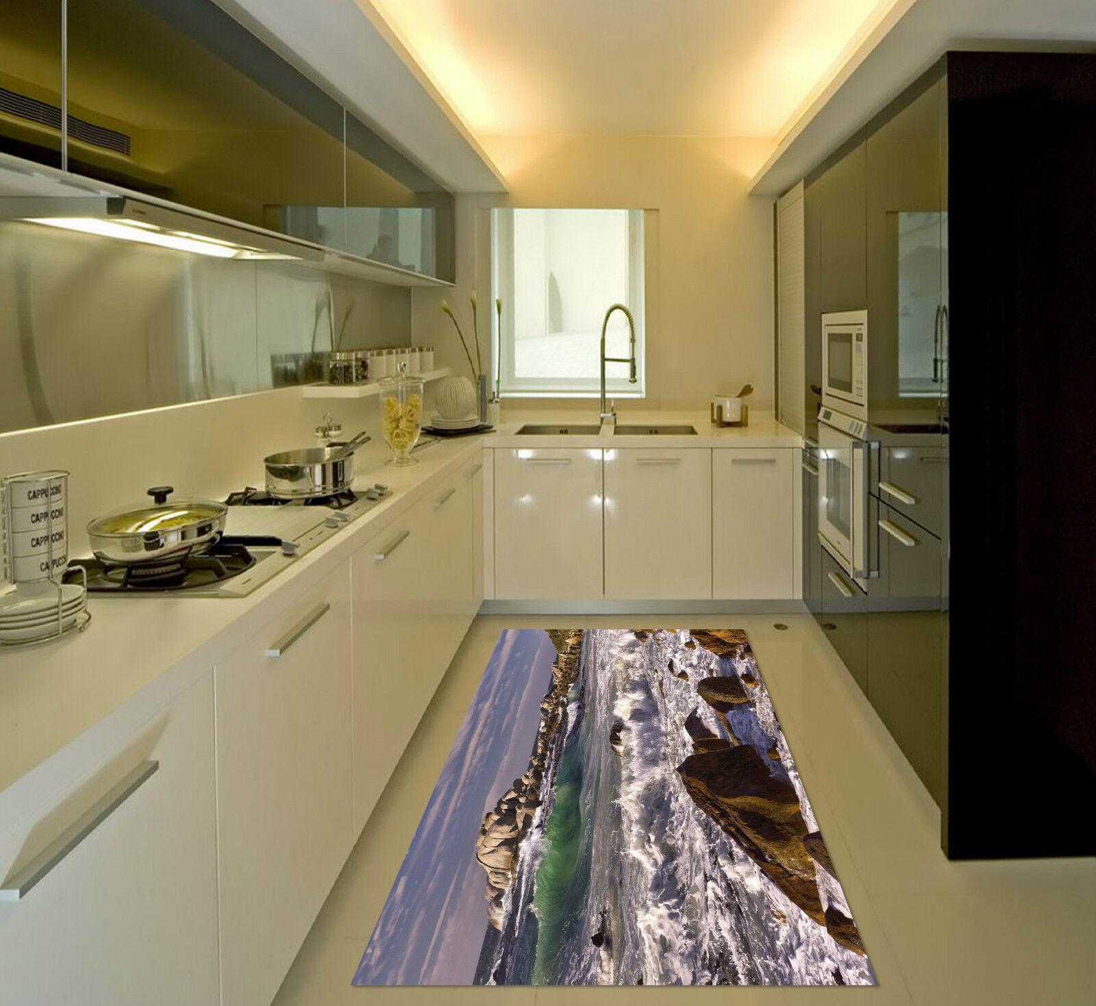 3D Stones Waves 3 Kitchen Mat Floor Murals Wall Print Wall Deco AJ WALLPAPER CA