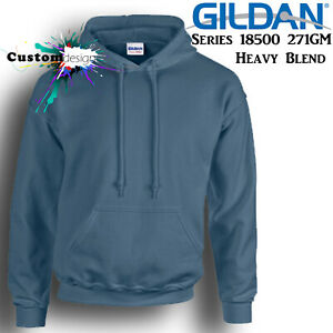Gildan-Indigo-Blue-Hoodie-Heavy-Blend-Basic-Hooded-Sweat-Mens-Pullover