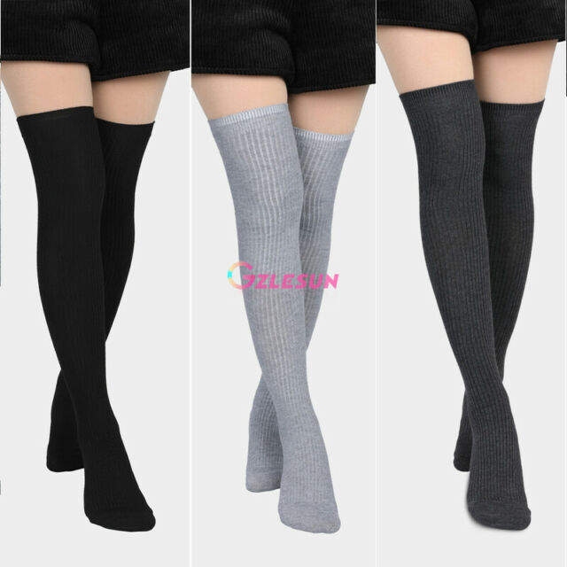 Winter Womens Leg Warmers Long Thigh Knit Over Knee High Socks Boots