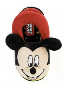 Boys Red with Navy Bootie Slippers with Mickey Mouse detail