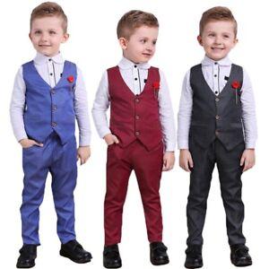 a63ab3aa4 Baby Kids Boys Gentleman Outfits Suit Coat Tie Shirt+Pants+Waistcoat ...