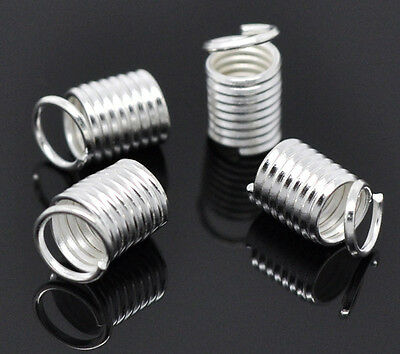 150 Silver Plated Coil End Crimp Fasteners 9x5mm