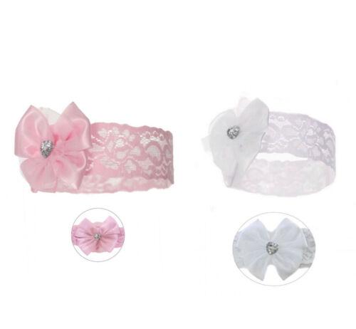 espagnol Romani Soft Touch Baby Girl dentelle Serre-tête avec nœud /& cœur Gem détail