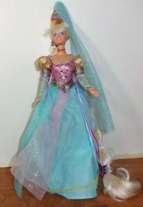 Pre-Owned-Barbie-Doll-as-Rapunzel-vintage-1994-Pink-Aqua-Gold-dress