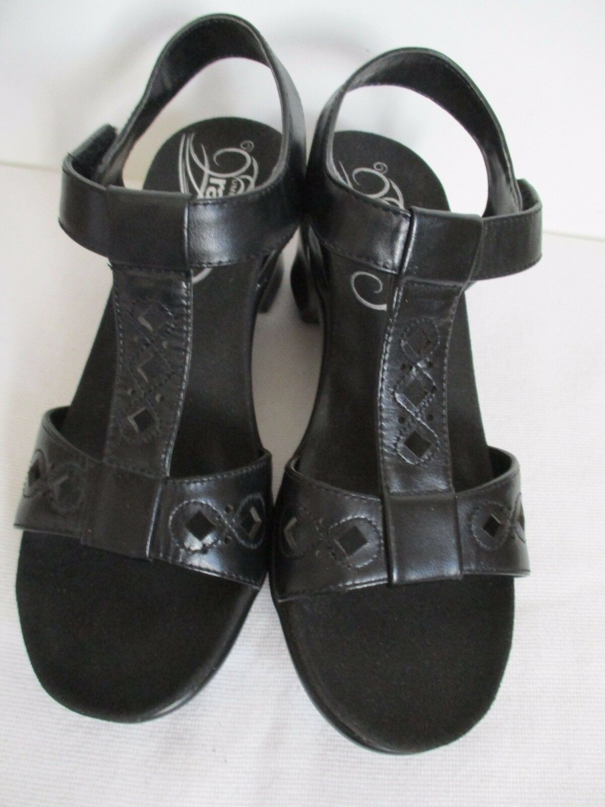 Umberto Rafini Sandals Heeled Black Leather US Cut Out Size 37 US Leather 382f14