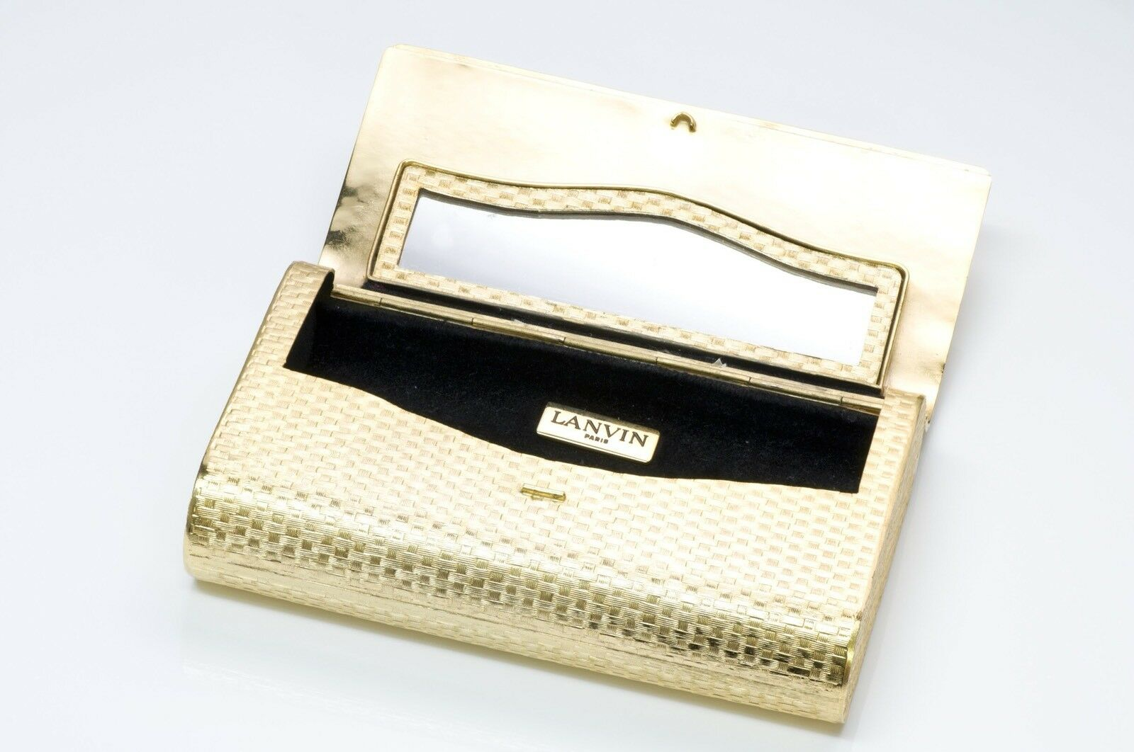 Lanvin 1970's Gold Tone Metal Clutch - image 4