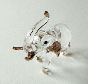 Elephant Hand Blown Glass Figurine Statue Art Miniature Animal Crystal Gift Tiny