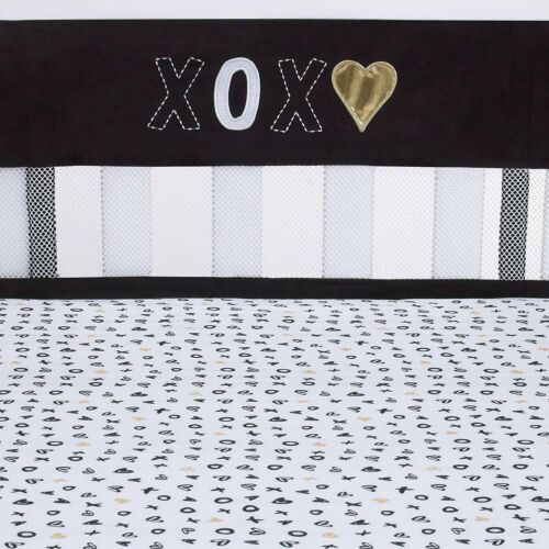 NoJo XOXO -Secure-Me Crib Liner Gold White Black