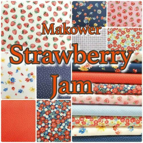 Makower STRAWBERRY JAM Berries Blossom Summer 100/% Cotton Patchwork Craft Fabric