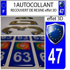 1 adesivo targa auto TUNING 3D RESINA STEMMA EUROPA DIPARTIMENTO 47