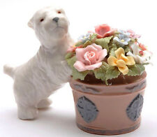 ♫ New MUSIC BOX Porcelain WESTIE DOG Musical Figurine FLOWER POT Pink Rose