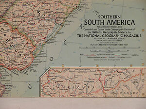 Vintage 1958 National Geographic Map of Southern South America a