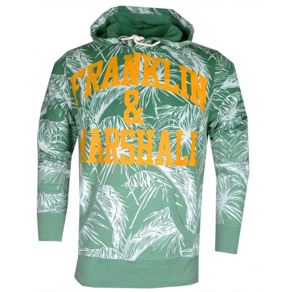 Franklin & Marshall MF081 Flower Print Bright Grün Hoodie