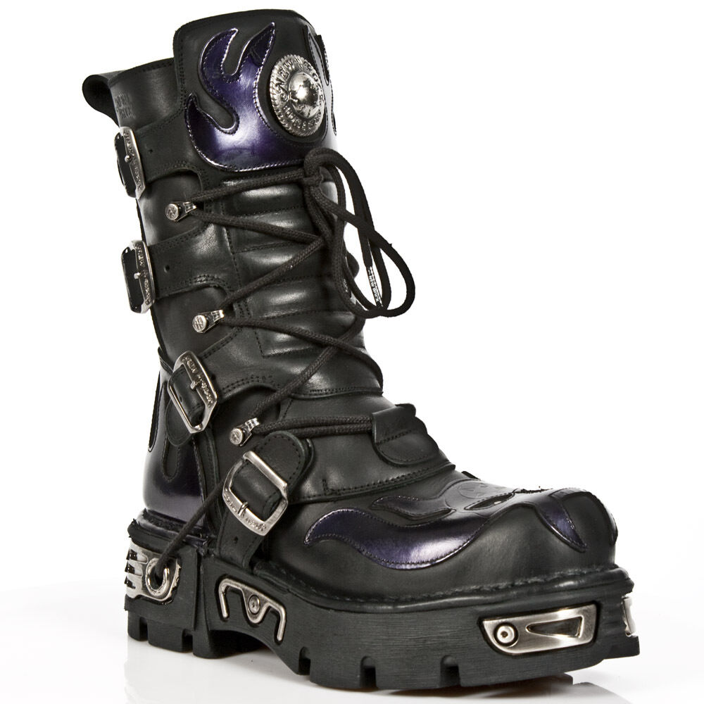 New Rock Botas Unisex Style 107 Morado S4 Morado 107 Skull Flame Gothic Punk Rock Botas 300fc1