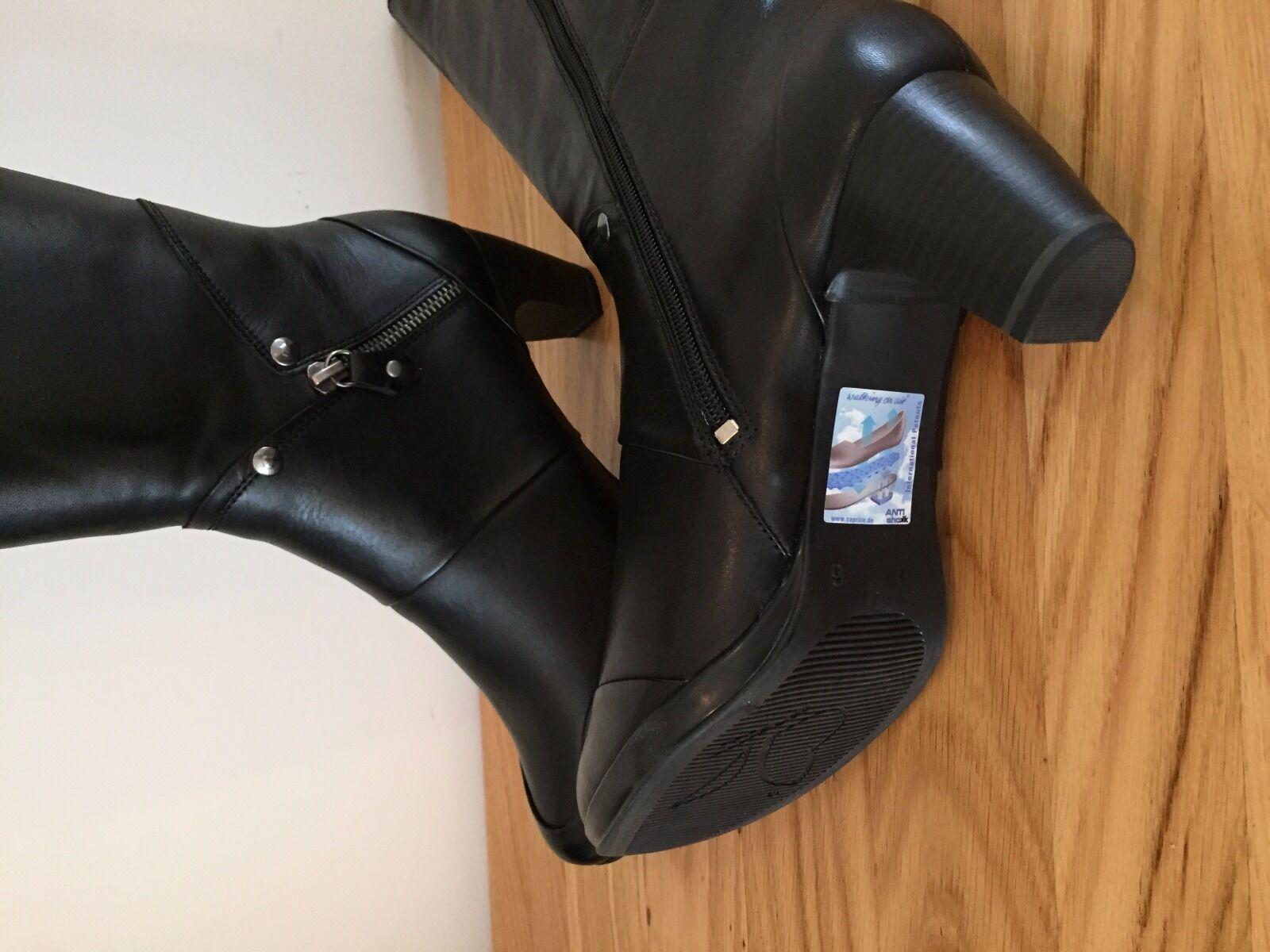 Caprice Botas en 9-25556-35 caminar en Botas el aire negro Talla 6.5 3 pulgadas talón y cremallera 29f326