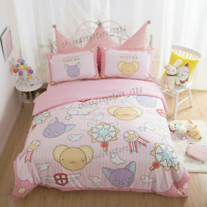 Card-Captor-Sakura-Anime-Cotton-Bed-Sheet-Quilt-Cover-Cartoon-Full-Set-4PCS