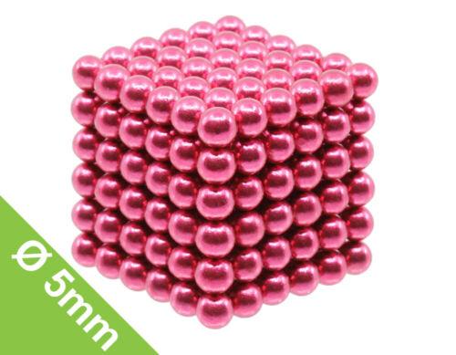 5mm Kugelamagnet Set mit 216 Kugeln zum Würfel geformt Pink
